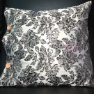 High Quality Embroidery Black Flowers Leaves Cushion Pillow Case Covers 2 Pieces