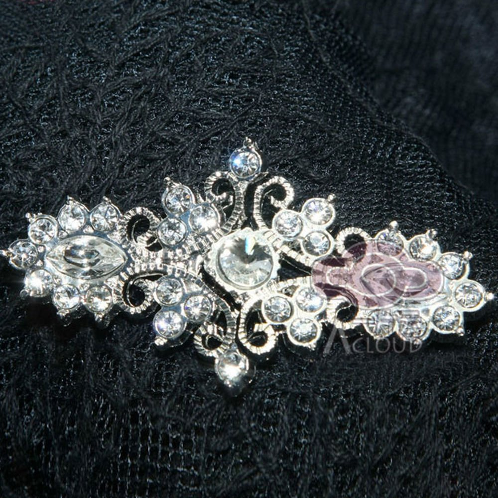 RHINESTONE CRYSTAL WEDDING BRIDE SHRUG SASH CLASP MATCHING BUTTON CLOSURE