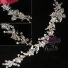 "Long Flowers Leaves Rhinestone Crystal Wedding Bridal Chain Brooch Pin 9"" Long"