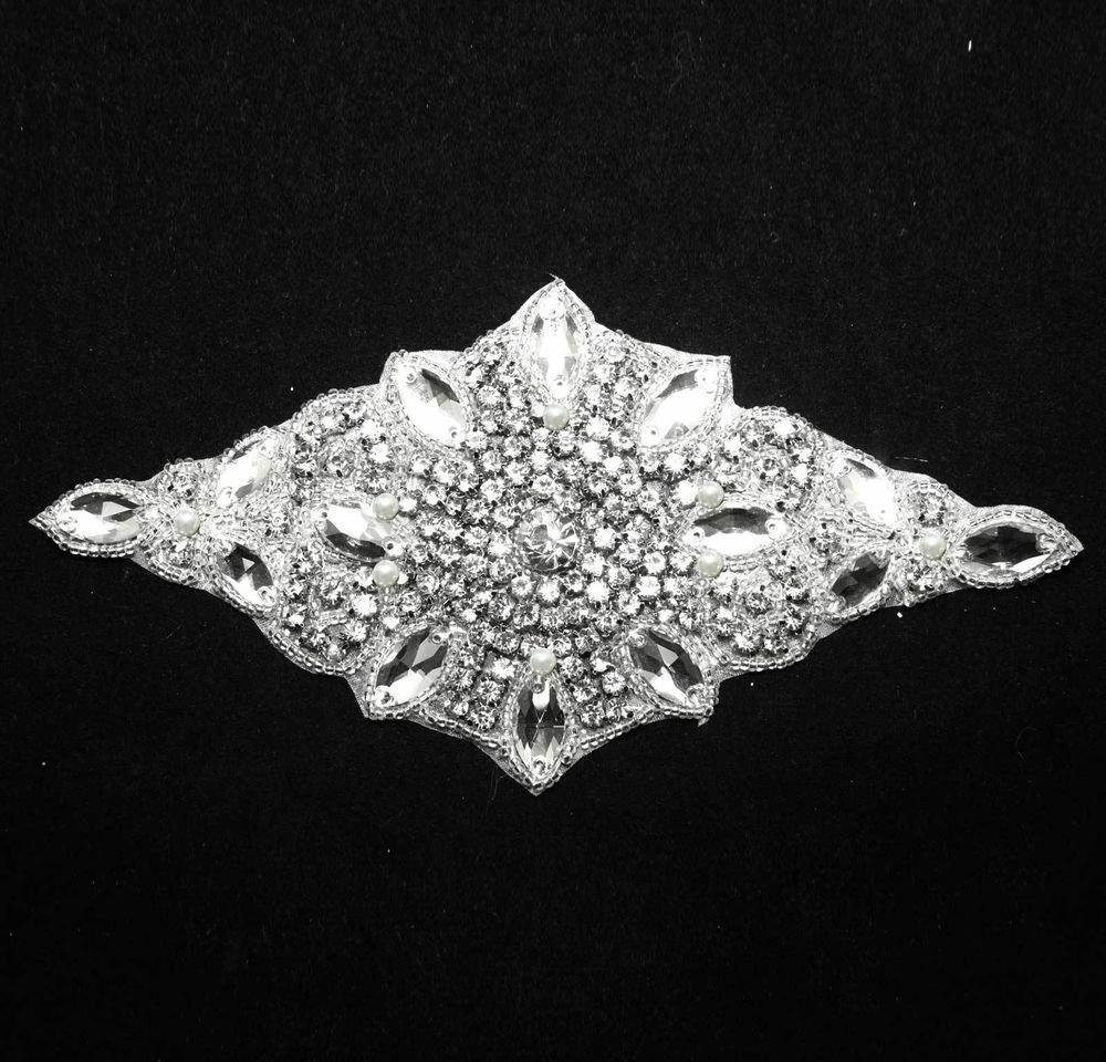 IRON/SEW GLASS CRYSTAL RHINESTONE WEDDING DRESS CLUTCH SASH DECORATION APPLIQUE