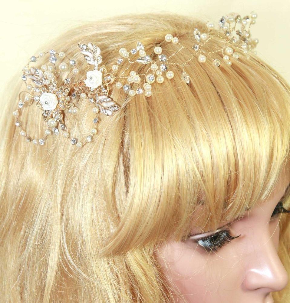 CLAY FLOWER BRIDAL WEDDING IVORY PEARL RHINESTONE CRYSTAL GOLD PLATE HAIR TIARA
