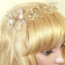 CLAY FLOWER BRIDAL WEDDING IVORY PEARL RHINESTONE CRYSTAL GOLD PLATE HAIR TIARA