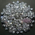 Bling Wedding Bridal Rounded Flowers Czech Crystal Rhinestone Brooch Pin