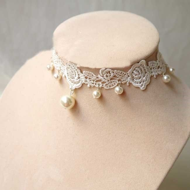 off White Lace Ivory Pearl Gothic Choker Necklace Rose Bridal Wedding
