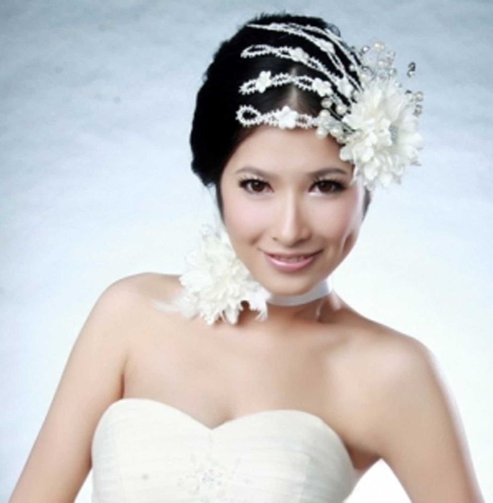 BRIDAL WEDDING RHINESTONE FLOWER HANDMADE HAIR CLIP & FLORAL NECKLACE CHOKER SET