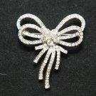 Bling Wedding Bridal Double Butterfly Bow Rhinestone Crystal Brooch Pin