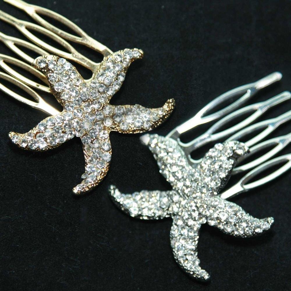 STARFISH SEA BEACH STAR WEDDING RHINESTONE CRYSTAL HAIR COMB