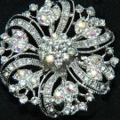 FLOWER SASH CAKE HEADDRESS AURORA RHINESTONE CRYSTAL BRIDAL BROOCH PIN