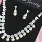 WEDDING RHINESTONE CRYSTAL FAUX PEARL STUD EARRINGS NECKLACE SET