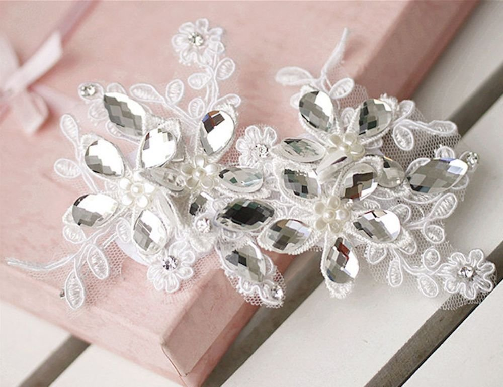 LOT OF 2 WEDDING RHINESTONE APPLIQUE FAUX PEARL LACE HAIR PATCH
