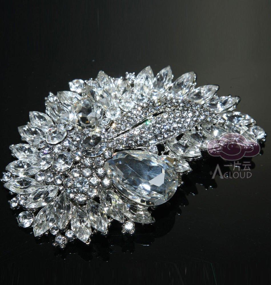 Large Wedding Bridal Marquise Teardrop Rhinestone Crystal Alloy Brooch Pin