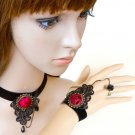 HANDCRAFT BLACK LACE APPLIQUE ROSE ROSE PENDANT GOTH NECKLACE BRACELET SET