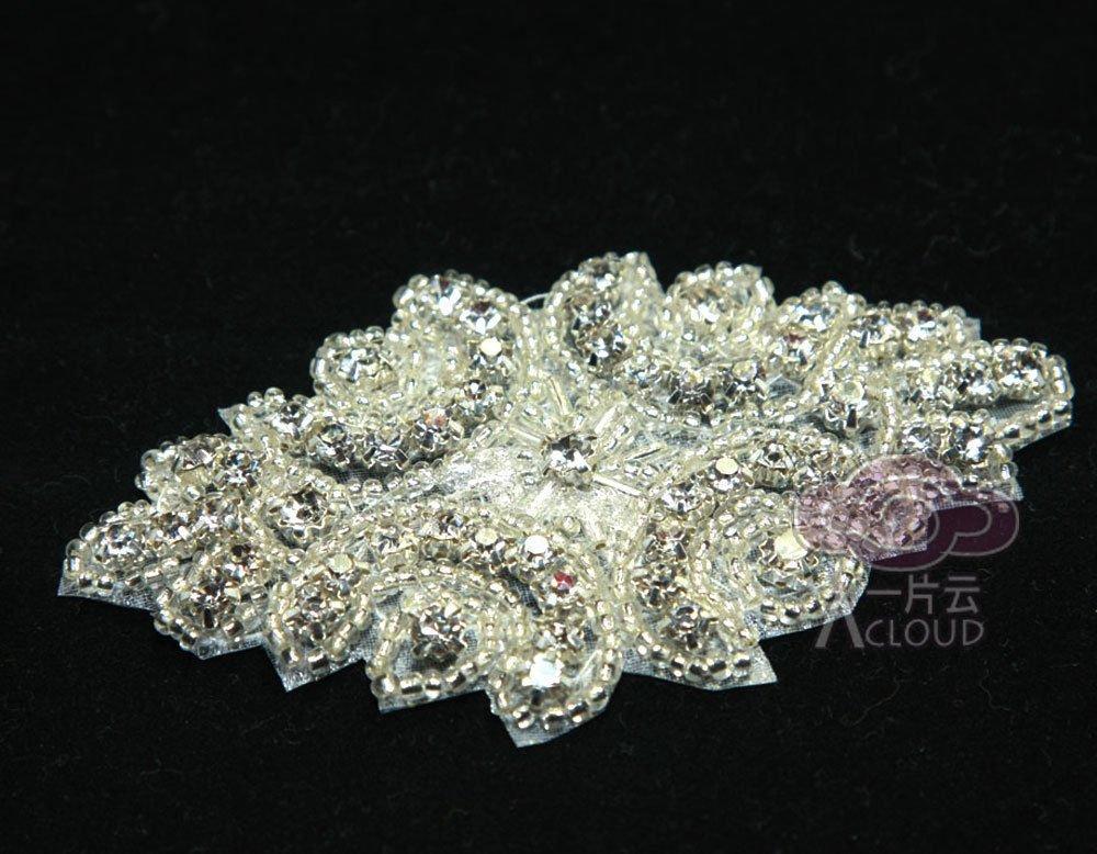 BEADED GLASS CRYSTAL RHINESTONE WEDDING CRAFT SASH HEADBAND APPLIQUE -CAS