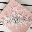 WEDDING BRIDAL RHINESTONE CRYSTAL LACE VEIL NET FOREHEAD HAIR HEADBAND TIARA