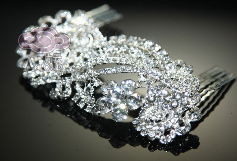 ART DECO BRIDAL WEDDING BRIDES SILVER RHINESTONE CRYSTAL TIARA HAIR COMB -CAS