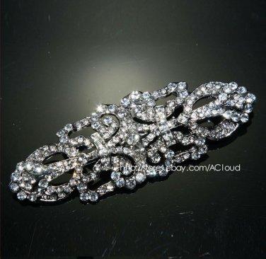 Elegant Vintage Style Motif Rhinestone Crystal Wedding Bridal Brooch Pin