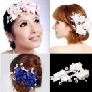 3 PIECES WEDDING BRIDAL BRIDE WHTIE PINK BLUE FLOWERS FAUX PEARL HAIR CLIPS