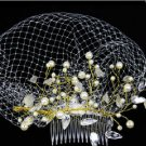 BRIDAL WEDDING PEARL ACRYLIC CRYSTAL GOLD STONE BIRDCAGE NET VEIL HAIR COMB