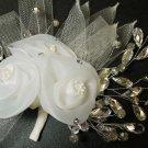 BRIDAL WEDDING BRIDES RHINESTONE CRYSTAL FLOWER ORGANZA NET HAIR CLIP