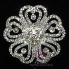 Romantic Wedding Bridal Five Heart Petals Flower Rhinestone Crystal Brooch Pin