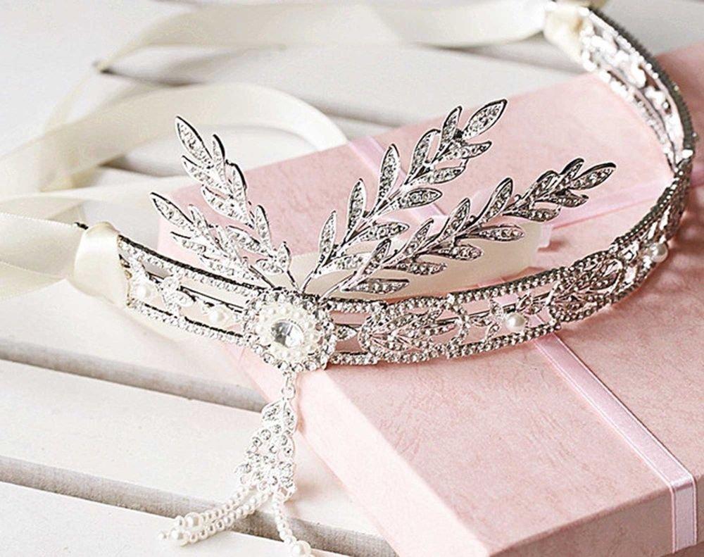 WEDDING BRIDAL RHINESTONE CRYSTAL GREAT GATSBY STYLE CROWN WHITE RIBBON TIARA
