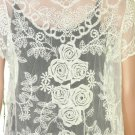 SEXY ELEGANT LACE EMBROIDERY ROSE LITTLE OFF WHITE VINTAGE STYLE OUTWEAR