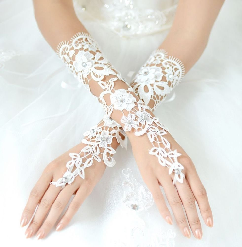 WHITE LACE WEDDING BRIDAL BRIDES FINGERLESS SEQUIN RHINESTONE ELBOW GLOVESWHITE