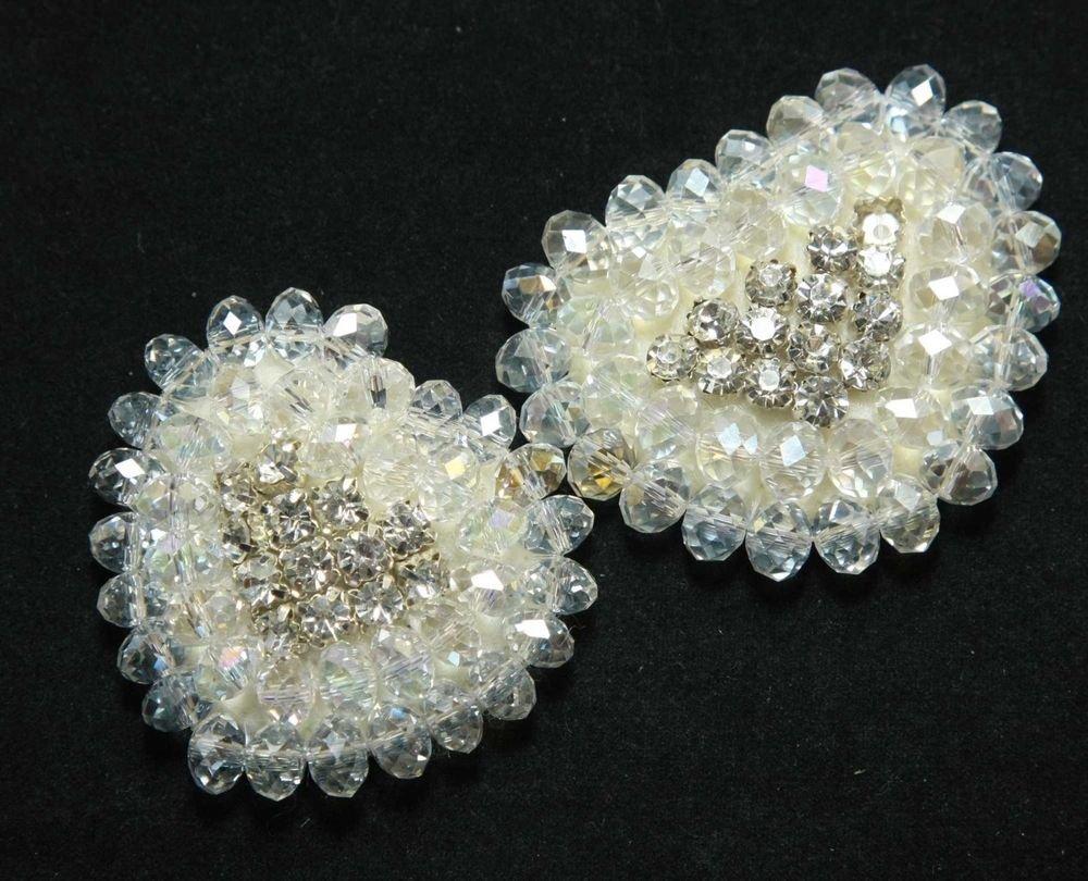 Heart Shaped Rhinestone Crystals Beaded Glass Shoe Clips Pair