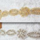 LOT OF 10 GOLD LONG TRIM RHINESTONE CRYSTAL SASH DRESS CRAFT SEW/IRON APPLIQUE