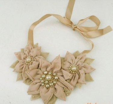Pink/Brown/Ivory Chiffon Lace Flower Ribbon Choker Necklace
