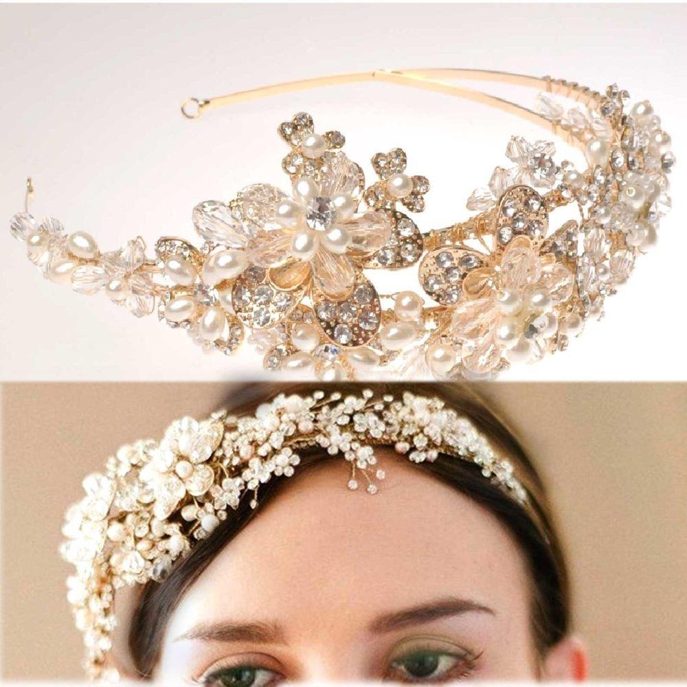 GOLD FLOWER BRIDAL WEDDING TIARA PEARL RHINESTONE CRYSTAL HAIRBAND