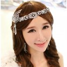 WEDDING BRIDAL RHINESTONE RIBBON FAUX PEARL CROWN FEATHER RIBBON TIARA