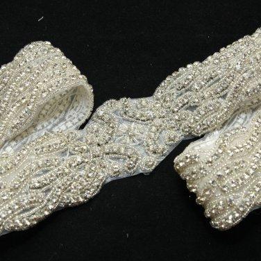 "32"" Long Vintage Style Beaded Rhinestone Crystal Wedding Ribbon Belt Applique"