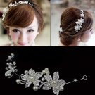 BRIDAL WEDDING FLOWER IVORY PEARL RHINESTONE CRYSTAL HAIR APPLIQUE TIARA -CA