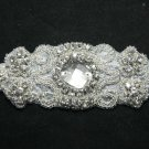 "4.5"" Vintage Style Glass Beaded Rhinestone Wedding Belt Headband Craft Applique"