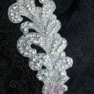 """6.5"""" Feather Acrylic Beaded Rhinestone Crystal Wedding Bridal Dress Applique IDY"""