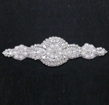 "6.3"" Circles Acrylic Beaded Rhinestone Crystal Faux Pearl Bridal Ribbon Applique"
