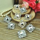 Lot of 2 Square Rhinestone Crystal Wedding Dress Silver or Gold Tone Buttons DIY