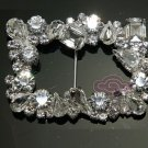 Mixed Rhinestone Crystal Wedding Invitation Ribbon Slider Sash Belt Buckle