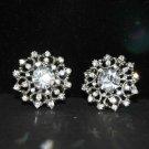 Lot of 6 Vintage Style Round Flower Rhinestone Crystal Bridal Wrap Shank Button