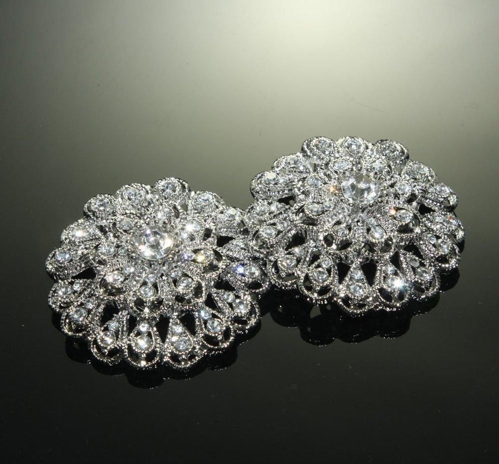 Pair Of Rhinestone Crystal Vintage High Heel Wedding Shoes Bluette Clips -EU