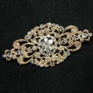 WEDDING BRIDAL RHINESTONE HAIR DRESS SASH BUCKLE GOLD RHOMBUS BROOCH PIN -CA