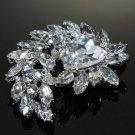 Wedding Bridal Dress Large Teardrop Austria Rhinestone Crystal Sash Brooch Pin