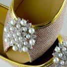 A Pair Of Floral Rhinestone Crystal White Pearl Wedding Bridal Shoe Clips -EU