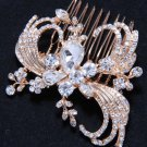 Peacock Feather Wing Style Bridal Wedding Rhinestone Crystal Gold Hair Comb