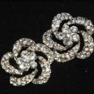 Lot of 4 Flower Rose Rhinestone Crystal Wedding Bridal Dress Shank Buttons DIY