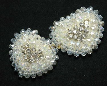 "1.9"" Heart Beaded Acrylic Rhinestone Crystal Wedding Bridal Applique DIY 1 piece"