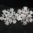 Lot of 4 Snowflake Snow Rhinestone Crystal Wedding Bridal Shank Buttons DIY