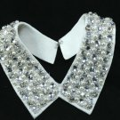 WHITE FAUX PEARL RHINESTONE BEADS CHOKER NECK COLLAR NECKLACE WRAP