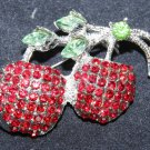 Red Cherry Corsage Coat Fruit Rhinestone Crystal Brooch Pin